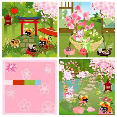 桜と和風の島