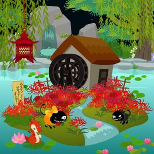 柳と蓮と水車小屋